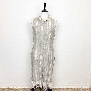Zara Button Down Striped Linen Tunic Top Sz Large